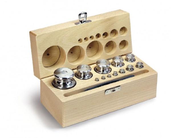 Gewichtssatz F2, Knopfform, Edelstahl feingedreht im Holz-Koffer