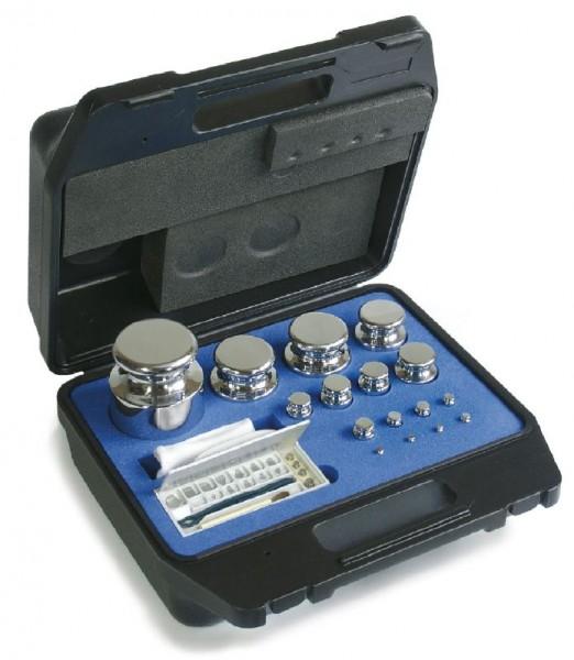 Gewichtssatz E2, Knopfform, Edelstahl poliert im Kunststoff-Koffer