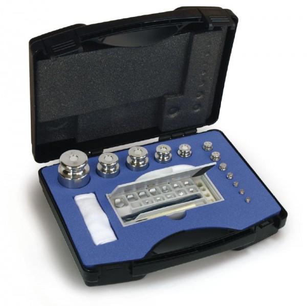Gewichtssatz F2, Knopfform, Edelstahl feingedreht im Kunststoff-Koffer