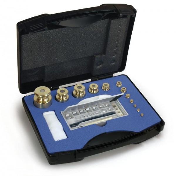 Gewichtssatz M1, Knopfform, Messing feingedreht im Kunststoffkoffer